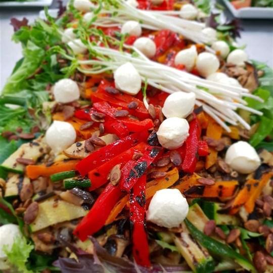 BBQ Veg Salad with Greens and Bocconcini (VEG) (GF) - Side Serve