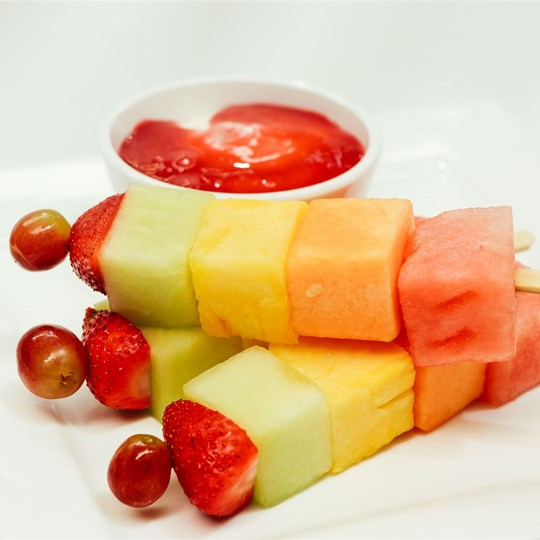 Fruit Skewer - with yogurt and berry dipping sauce