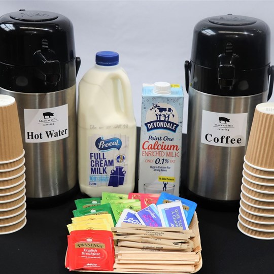 Brewed Filtered Coffee - with milk, sugar, stirrers & disposable cups