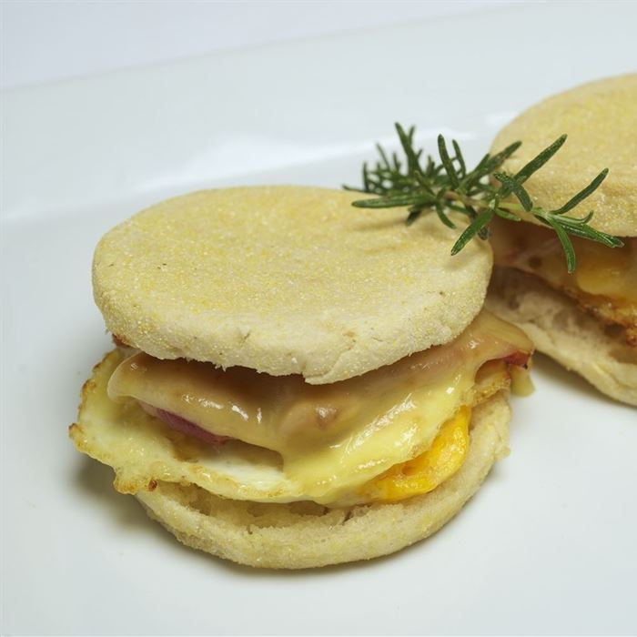 English Muffin - Vegetarian filled with egg, tomato, cheese, avocado and tomato relish
