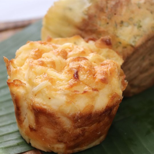 Gluten Free - Savoury Bacon & Cheese Muffin with a butter portion