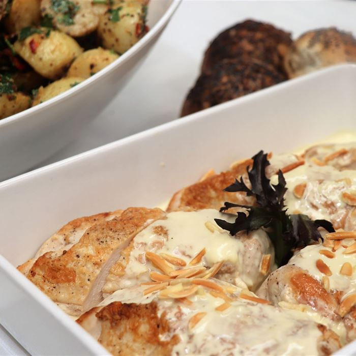 Buffet - Chicken Fillet stuffed with Brie Cheese & Almonds, and served with a light Mustard Cream Sauce (GF)