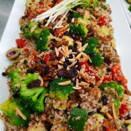 Ancient Grain Salad w Broccoli, Zucchini, Red Pepper, Currants, Olives, Pumpkin Seeds, Almonds & Tahini Dressing (VEGAN) (GF) (DF) - Side Serve