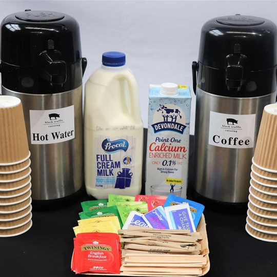 Twining's Tea - with milk, sugar, stirrers & disposable cups