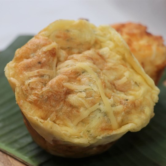 Gluten Free - Savoury Spinach & Feta Muffin with a butter portion