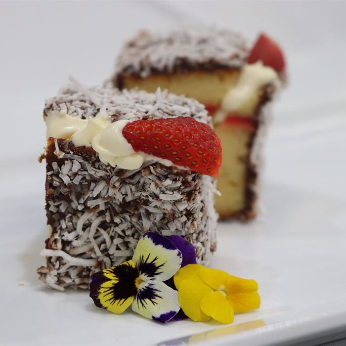 Lamington -  filled with jam and cream