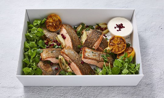 150g cooked salmon portions with yoghurt, charred fennel & lemon (GF)