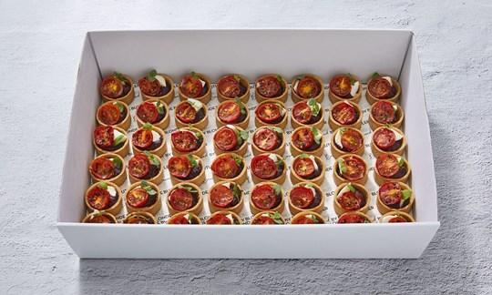 Black olive, blistered tomato & bocconcini tarts (V)