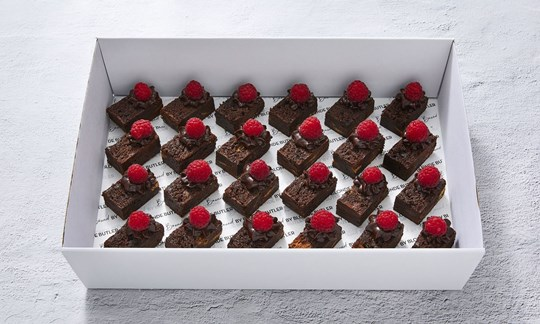 Brownie bites with chocolate frosting & raspberries (GF)