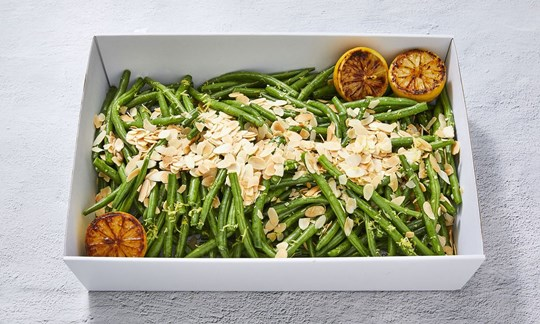 Citrus green beans with toasted almonds (GF/DF)