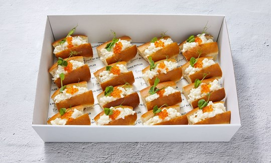 Petite lobster rolls with Yarra Valley salmon pearls