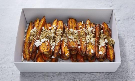 Honey roast carrots with dukkah & feta