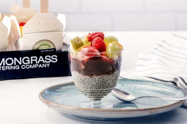 CHAI SEED PUDDING WITH FRESH FRUIT & BERRY COULI