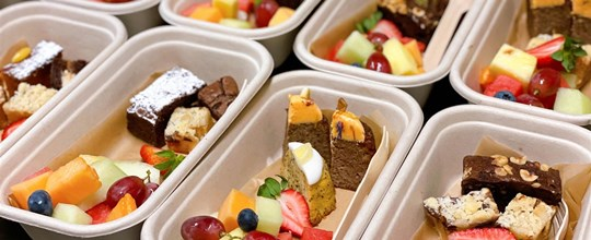 Assorted cakes & fruit salad