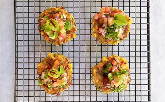 Corn & zucchini mini fritters, chilli jam & salsa
