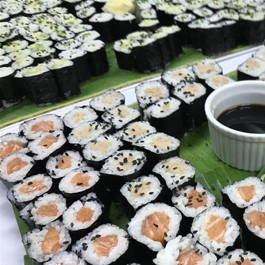 Sushi selection with salmon, tuna & vegetarian
