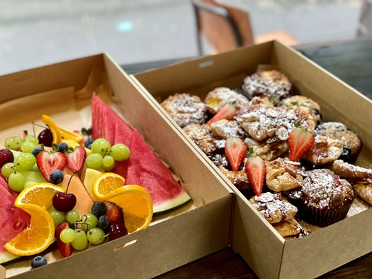 Mini muffins & pastries with fresh fruit platter