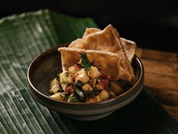 Pineapple Ceviche on a Cassava Cracker (GF, VG) - Shared between 2