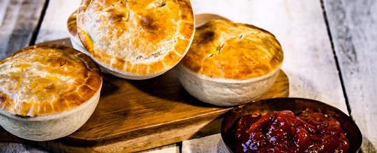 Gourmet beef pies with tomato relish