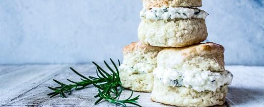 Rosemary & Yarra Valley feta buttermilk scones, paprika butter (v) (30 pieces)