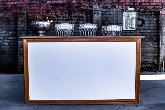 White timber top bar 1820mm wide, 630mm deep x 1000mm high