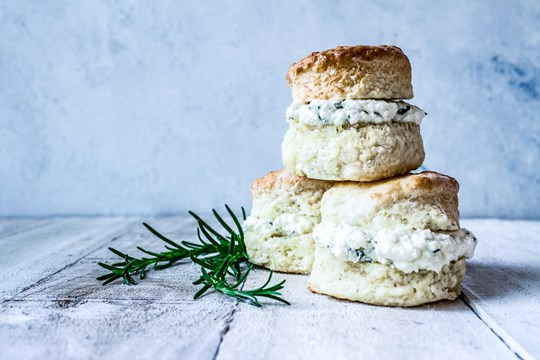 Rosemary & Yarra Valley feta buttermilk scones, paprika butter (v)