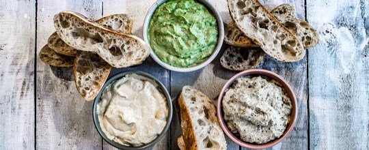 Trio of house made dips with turkish bread platter