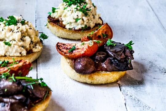 English muffin balsamic mushrooms