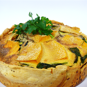 Roast Pumpkin Spinach and Blue Cheese Tart served with choice of 2 salads  (orders in multiples of 12 only)