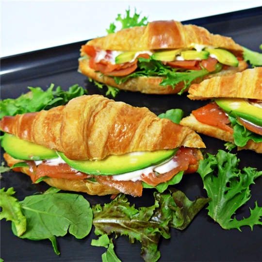 Mini Croissant filled with Smoked Salmon, Avocado and Garlic Aioli