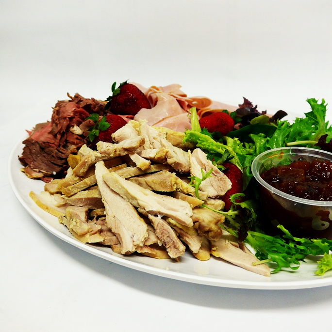 Sliced leg ham, chicken and beef fillet with condiments (gf) with choice of 2 salads (min 10)