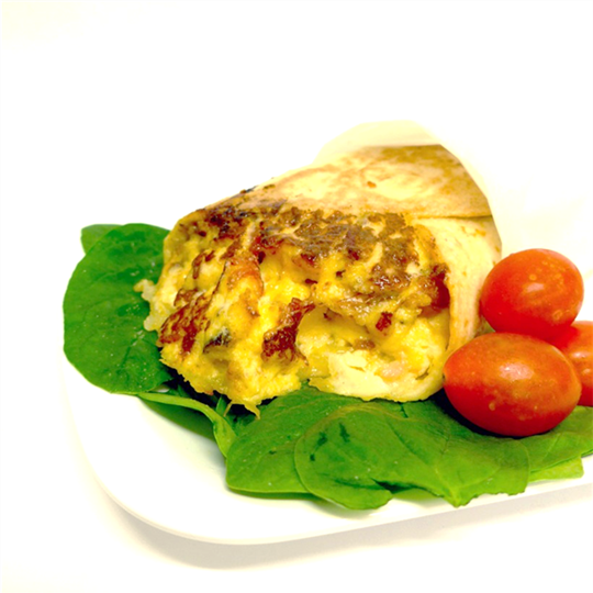 Breakfast Wrap: Bacon, scrambled eggs, tomato relish and tasty cheese (min 6)