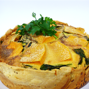 Roast Pumpkin Spinach and Blue Cheese Tart served with choice of 1 salad (orders in multiples of 12 only)
