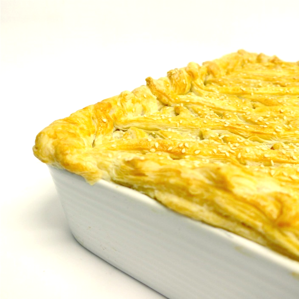 Chicken and mushroom pie with rough puff top pastry (serves 6)