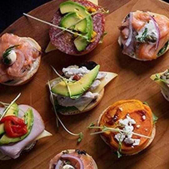 Mini open bagel half- assorted gourmet fillings