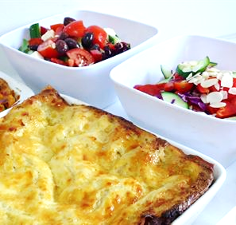 Beef or Vegetarian Lasagne served hot with choice of 1 salad (min 10)