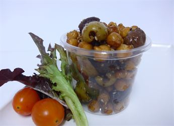 Spiced chick peas and olives tub (g/f) (min 6)