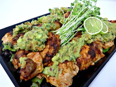 Peri Peri Chicken Thigh Fillet ( COLD) with Avocado Salsa (g/f,df, nut free) 2 salad choices