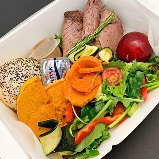 Lunch Box - Gourmet (Protein, Roasted Veg, Salad, Dressing, Dinner Roll, Butter, Fruit Garnish, fork, knife, napkin)