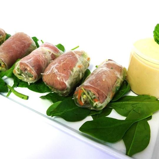 Beef Rice Paper Roll - Horseradish Cream, Rocket and Shredded Veg (g/f)