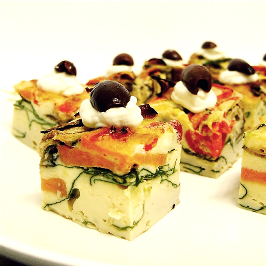 Individual Vegetable Frittata Topped with Olives (g/f, v)