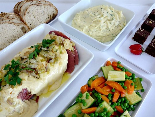 Menu 1  - Corned beef, steamed vegetables with mash potato, breads and coffee walnut cake. (min 12)
