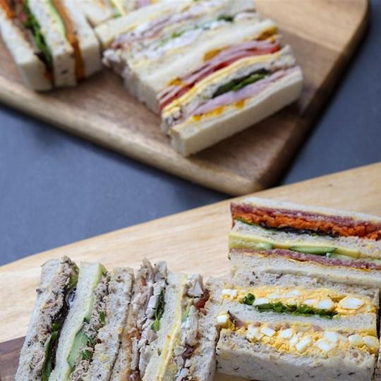 Gourmet triple deck ribbon sandwiches