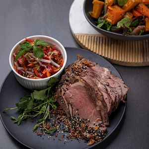 Cold Roast fillet of beef slices with a condiment of Korean pickled Vegetables served with choice of 2 salads (min 10)