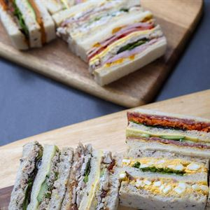 Gourmet triple deck ribbon sandwiches