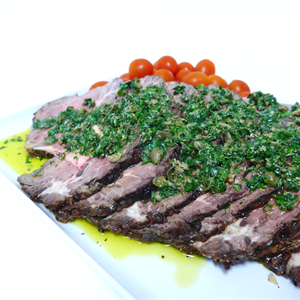 Roasted Fillet of Beef Slices with Parsley Caper Dressing (g/f) served hot with choice of 1 salad (min 10)