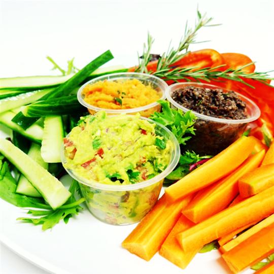 Healthy vegetable sticks and assorted dips platter (v, g/f) (min 6)
