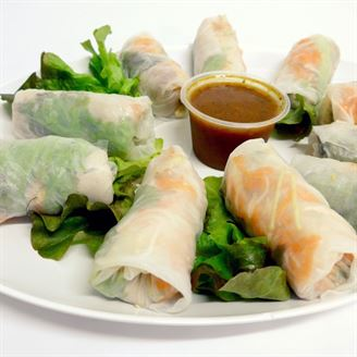 Prawn rice paper roll - sesame, shredded veg and wasabi mayo (g/f)