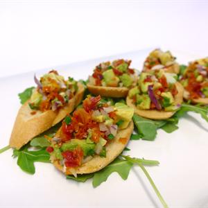 Bruschetta with semi dried tomato and pesto avocado (v) (min 10)