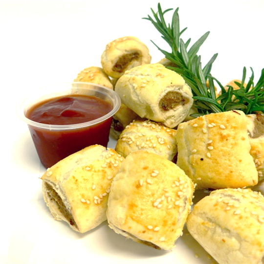 Mini sausage roll served with tomato sauce (min 10)